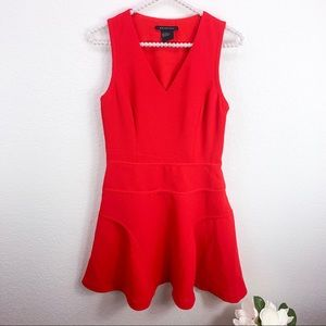 Armani Exchange Red Seamed Fit & Flare Dress